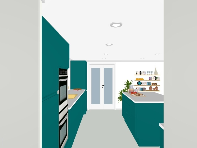 3D kitchen renovation plan teal blue gold ideas inspiration