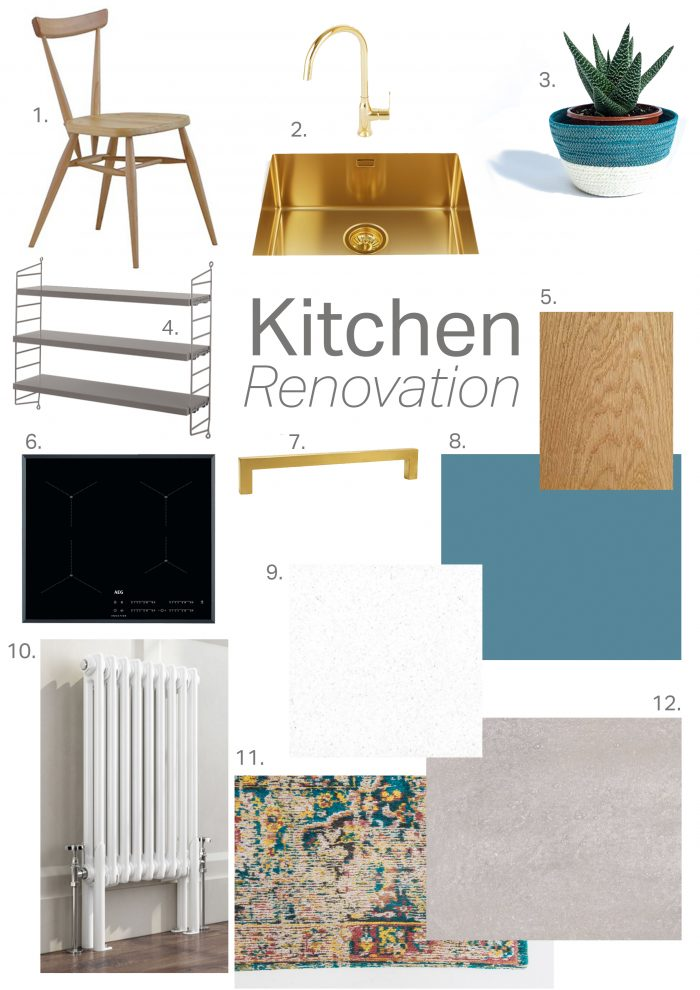 mood board kitchen renovation ideas inspiration blue gold swatches interior design gold sink
