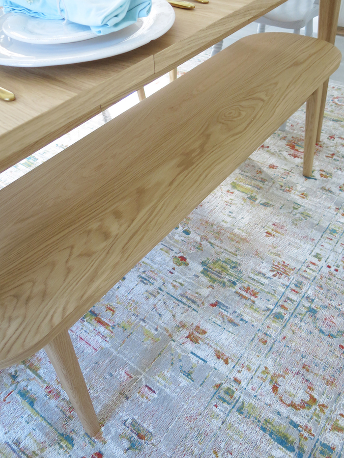 Morrican Rug for kitchen Table with Teal and Reds vintage style under table