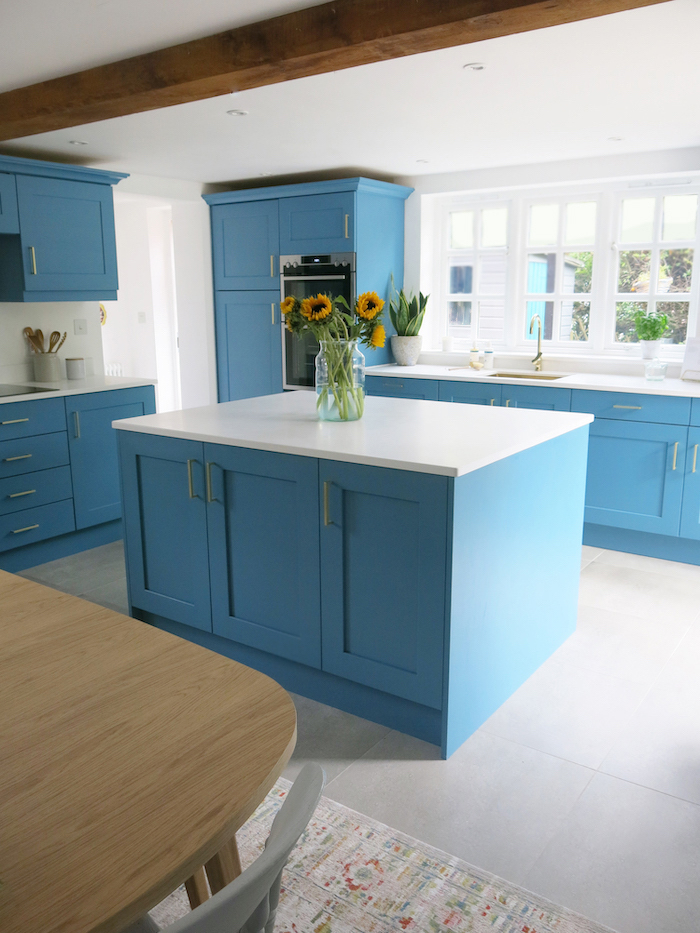 Mistral white kitchen worktops island blue kitchen
