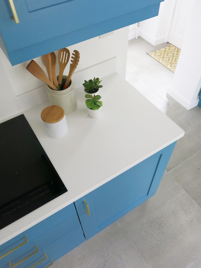 Mistral white polaris worktop blue kitchen