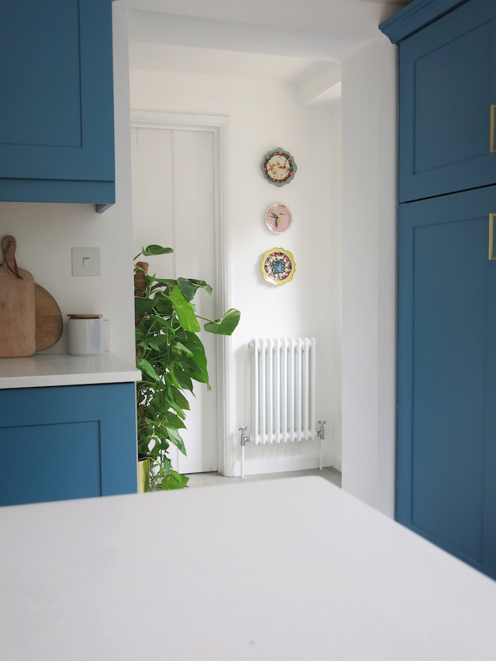 classic white radiator vintage style white walls blue kitchen ideas advice on heating