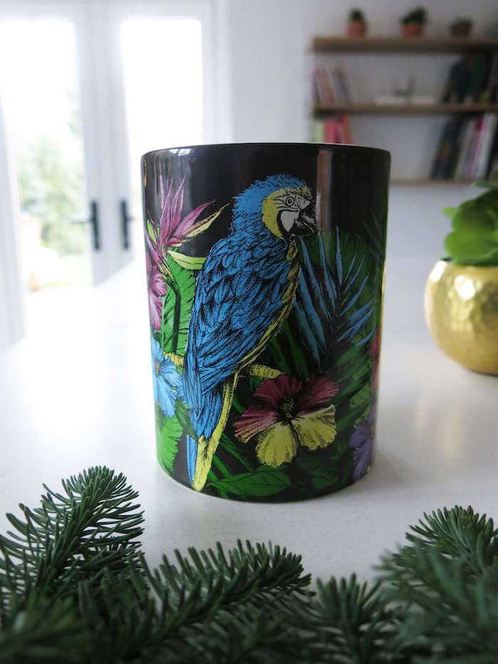 Matthew Williamson Candle Midnight Jungle Parrot Colourful Print Designer Styling
