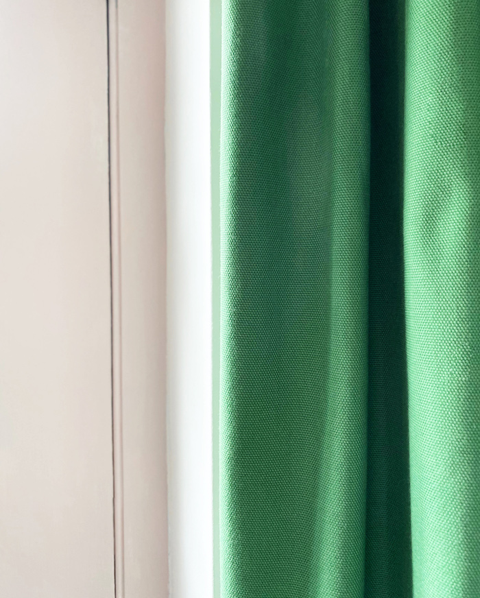 Pink Door Paint and Green Door Curtain by Sanderson lovely combination