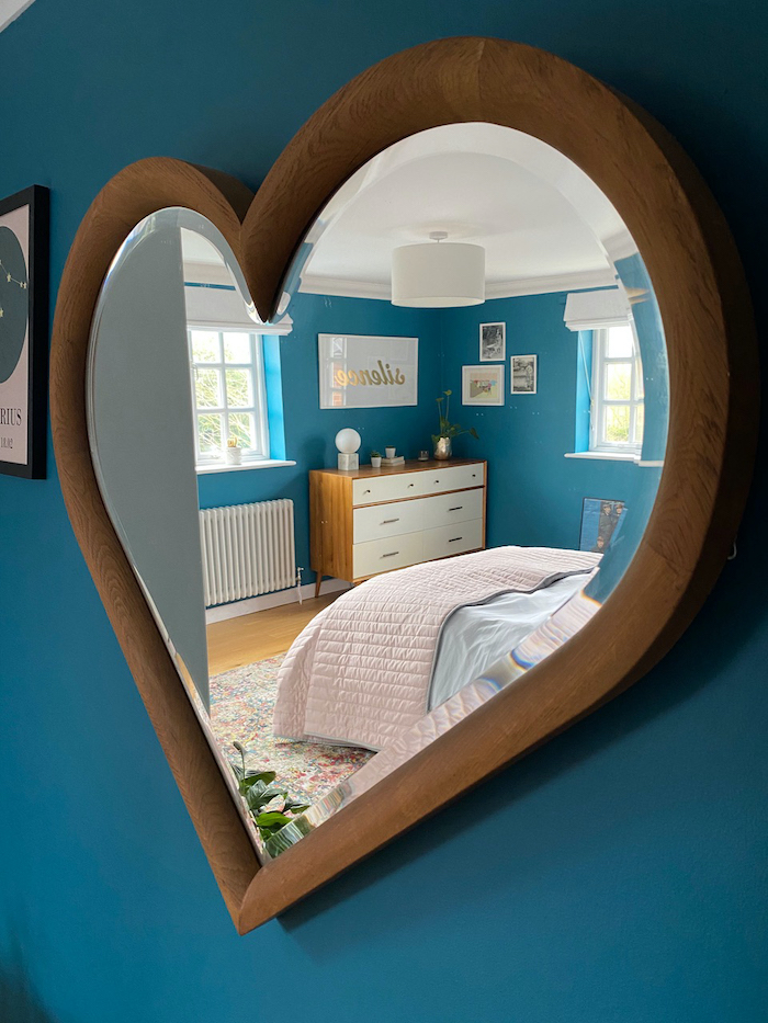 Heart Mirror Teal Bedroom Cosy and Comfy Space for relaxation