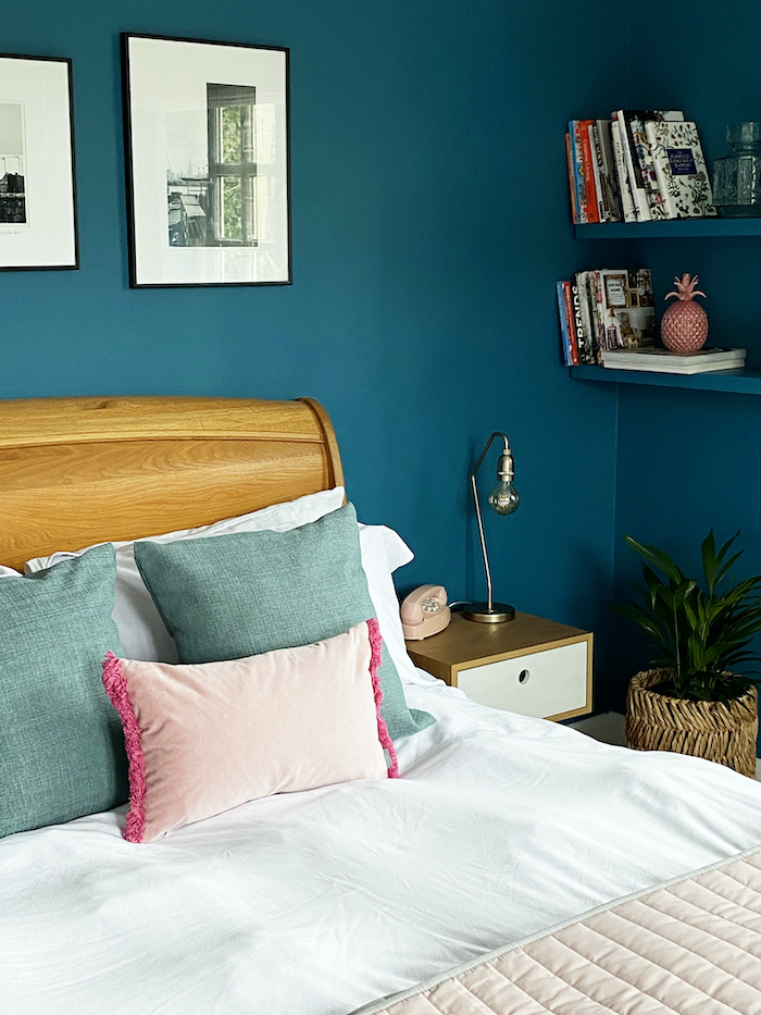 Teal Bedroom Next RAttan Planter bookcase ideas for quiet cosy relaxing space