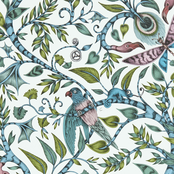 Emma Shipley Wallpaper Leaves Birds Happy Colourful Rousseau