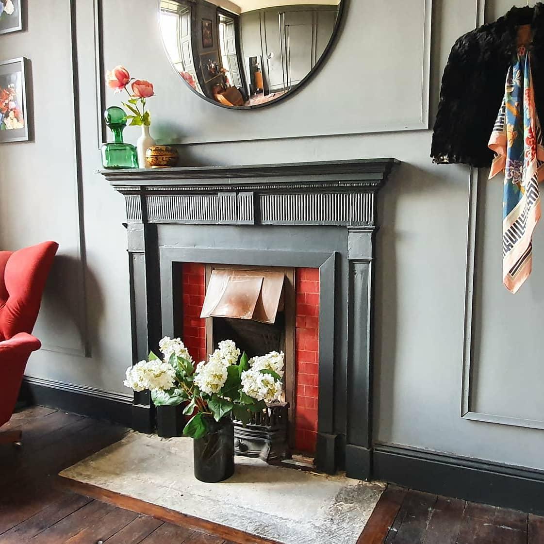 Laura Jane Clark Georgian Home Fireplace grey black