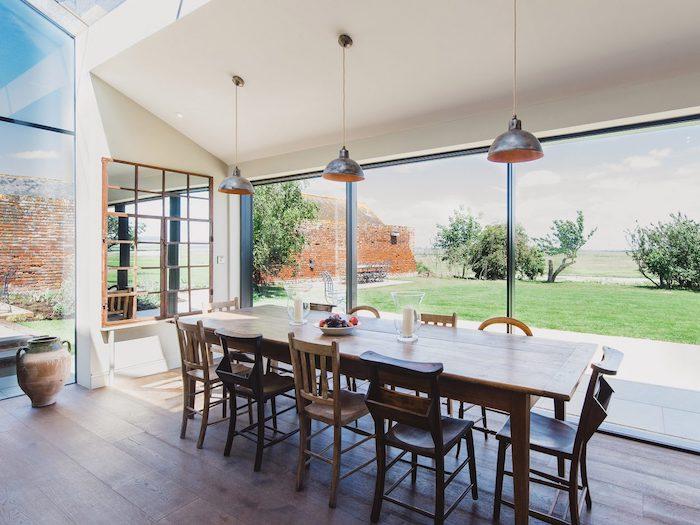 kitchen panoramic view wooden table rowan plowden design
