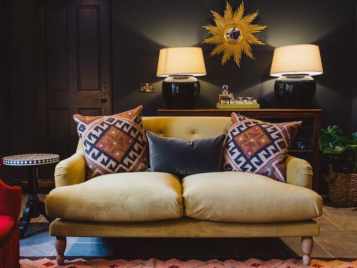 interior design yellow sofa grey walls lovely cosy rowan plowden