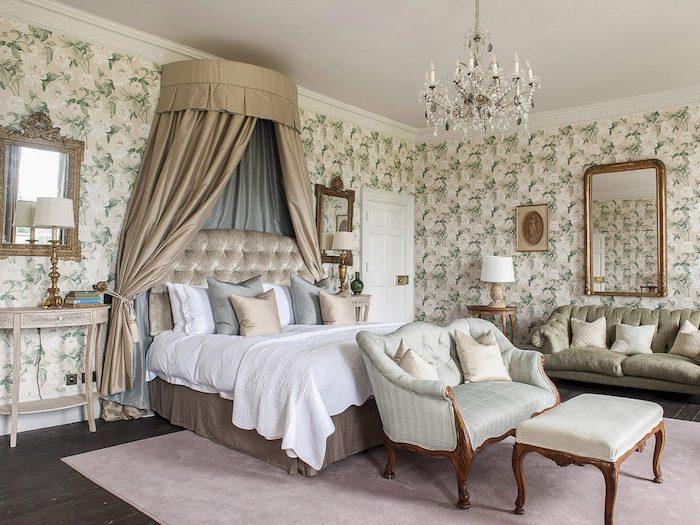 stately home grand bed wallpaoer Goodnestone Hall rowan plowden