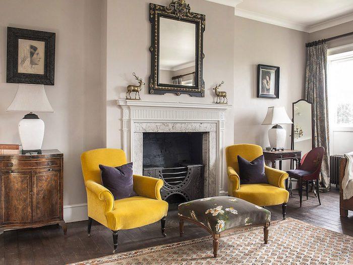 yellow chairs grand home stately goodnestone hall