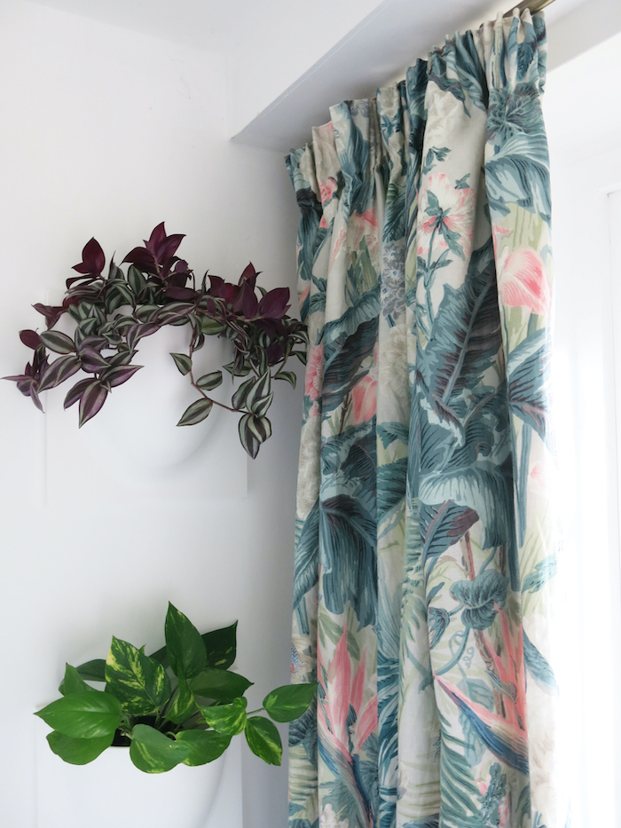 biophilia curtains door small space big print plants
