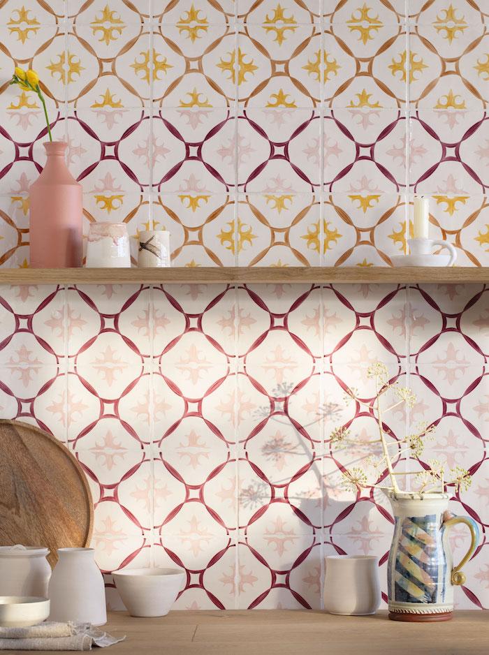 spanish style tiles bathroom kitchen red orange