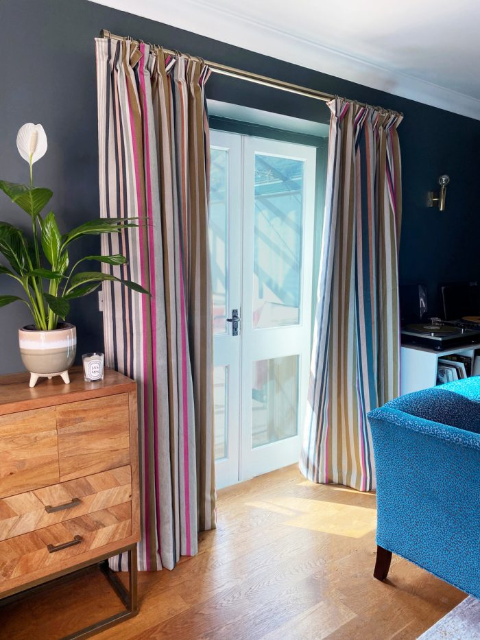 striped door curtains