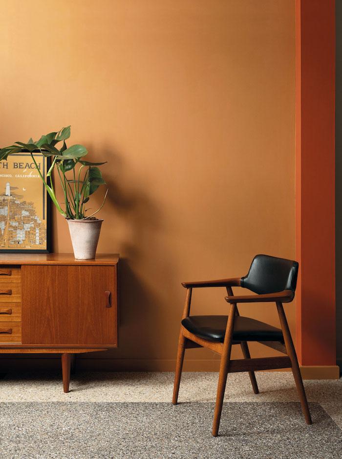 orange wall paint retro mid century home