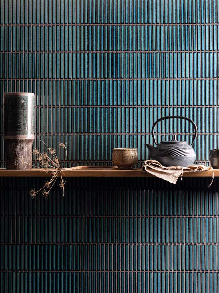blue japanese style kitchen tiles