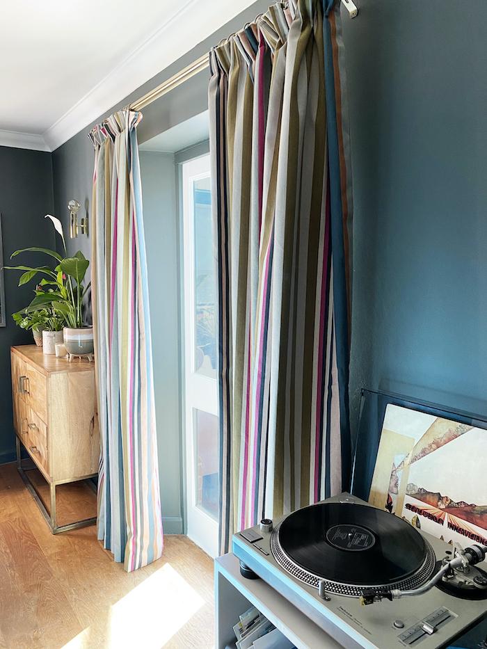 striped curtains romo door