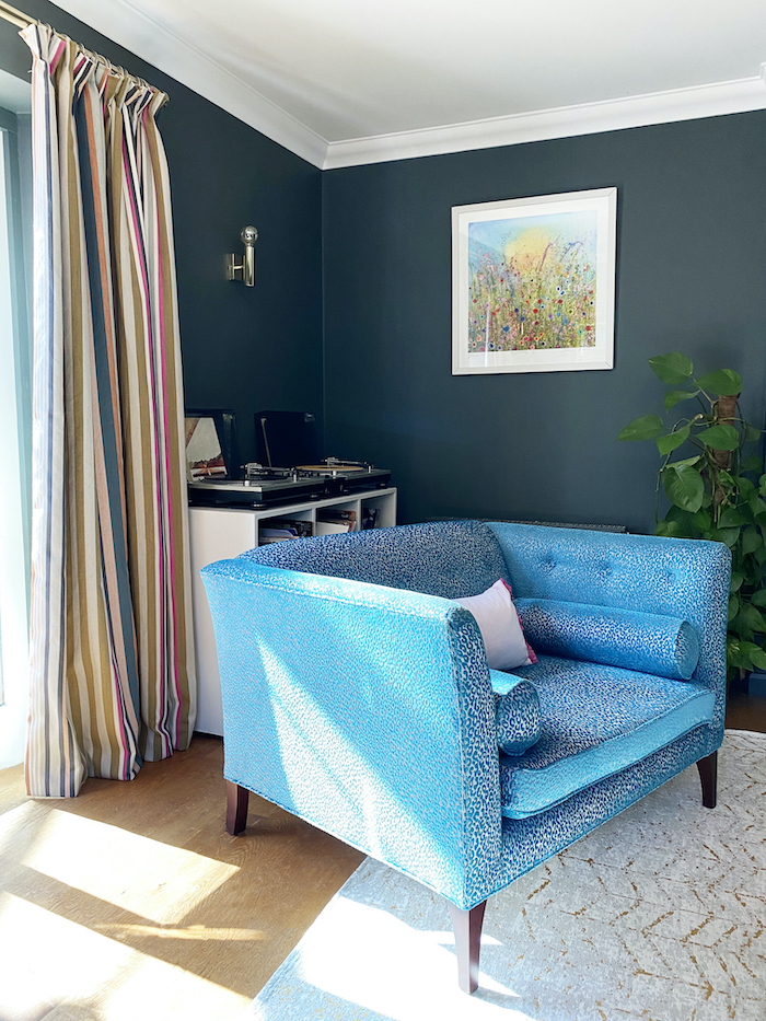 blue sofa workshop seat romo striped door curtains