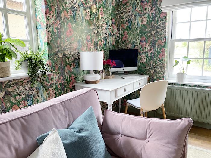 linwood wallpaper pink sofa tropical pretty stylish