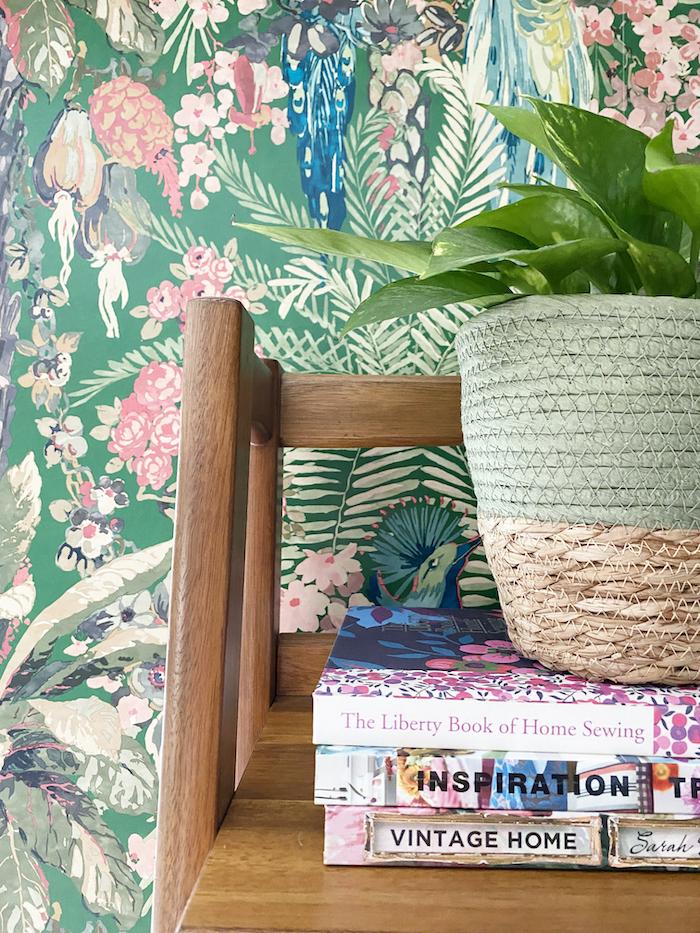 linwood tropical wallpaper green wood shelving